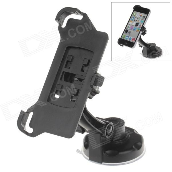 360 Degree Rotation Holder Mount w/ H17 Suction Cup + Back Clamp Bracket for Iphone 5C - Black h08 360 rotation 4 port suction cup holder w silicone back clip for iphone 4 4s 5 ipad mini ipod