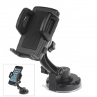 360 Degree Rotation Holder Mount w/ H17 Suction Cup + C47 Back Clamp for Mobile Phone - Black