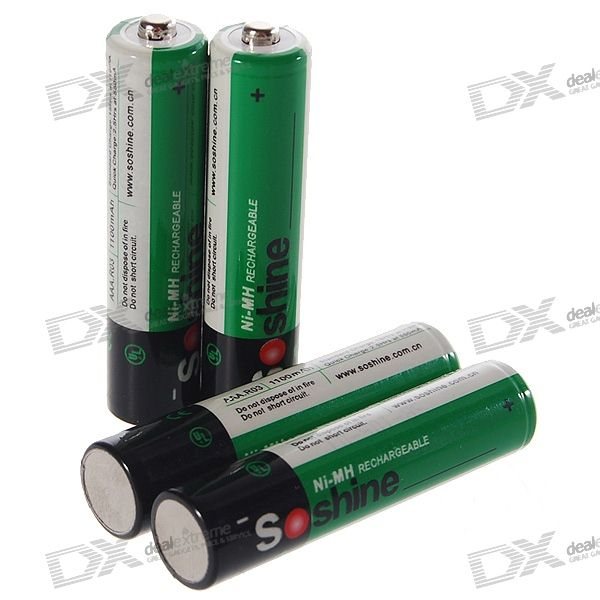 buy soshine 1100mah ni mh rechargeable aaa batteries with case 4 battery pack. Black Bedroom Furniture Sets. Home Design Ideas