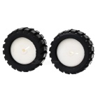 D-2-N DIY Replacement 43mm Silicone + PC D Caliber Wheels for RC Cars - Black + White (2 PCS)
