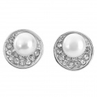 Fashion Zinc Alloy + Jewelry w/ Rhinestones Stud Earrings for Women - Silver (Pair)