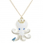 Iron Chain Octopus + Crown Style Pendant Zinc Alloy + Rhinestones Necklace for Women - White