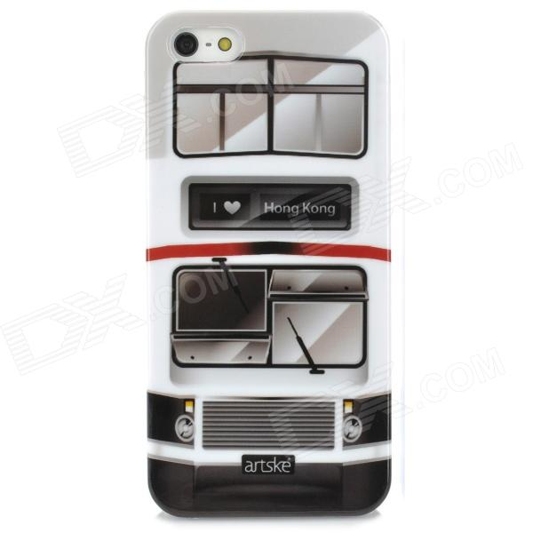 Retro Double-decker Bus Patterned Protective Plastic Back Case for Iphone 5 - Multicolored fashionable colorful strip patterned protective plastic back case for iphone 5 multicolored