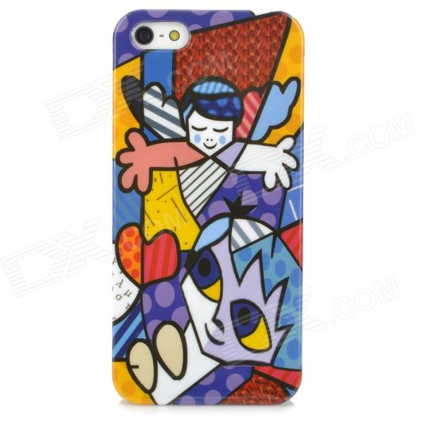 Stylish Cartoon Patterned Plastic Back Case for Iphone 5 - Multicolored fashionable colorful strip patterned protective plastic back case for iphone 5 multicolored