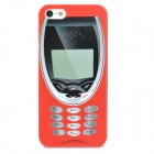 Retro Phone Patterned Plastic Back Case for Iphone 5 - Red