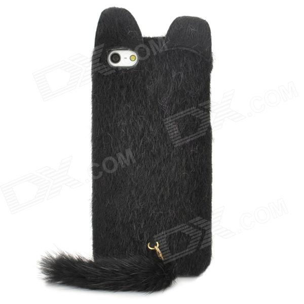 Cute Fox Style Silicone Plush Back Case for Iphone 5 / 5s - Black cute cartoon devil style silicone lint back case for iphone 5 5s black