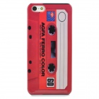 Retro Tape Cassette Patterned Plastic Back Case for Iphone 5 - Red
