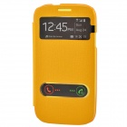 TEMEI PU Leather Case Cover w/ Visual Window / Slide to Unlock for Samsung Galaxy S3 i9300 - Yellow