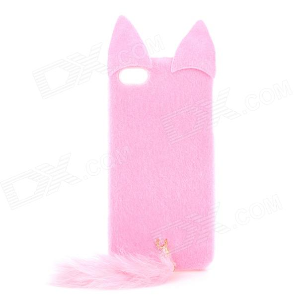 Cute Fox Style Silicone + Plush Back Case for Iphone 5 / 5s - Pink