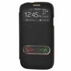 TEMEI PU Leather Case Cover w/ Visual Window / Slide to Unlock for Samsung Galaxy S3 i9300 - Black