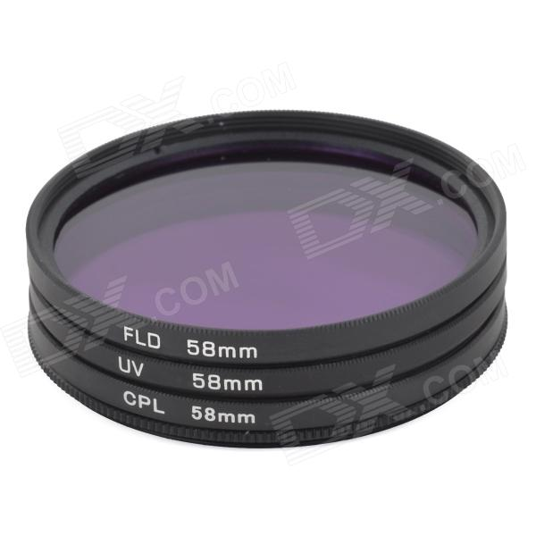 EOSCN Universal 58mm UV + CPL + FLD Lens Filter for DSLR - Black nicna 77mm slim multi coated mc cpl polarizing pl filter black