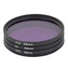 EOSCN Universal 58mm UV + CPL + FLD Lens Filter for DSLR - Black