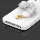 Cute Fox Style Silicona + Plush Back Case para Iphone 5 / 5s - Blanco