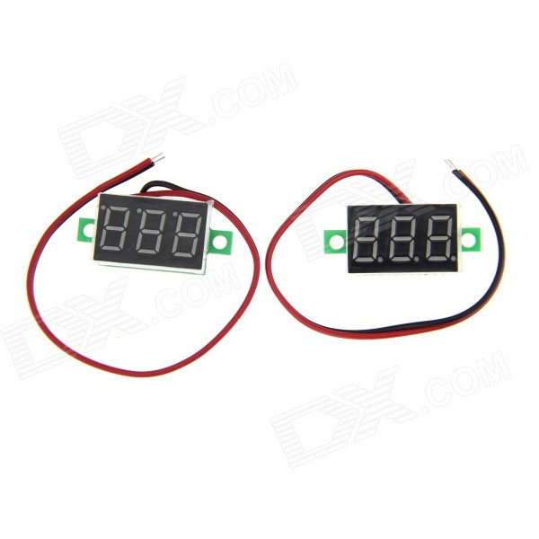 Navo DIY 0.36 3-Digit Red LED Digital Voltmeter - Green + Black + White (3.2~30V / 2 PCS) 0 36 3 digit blue light 7 segment voltmeter module black green 3 2 30v