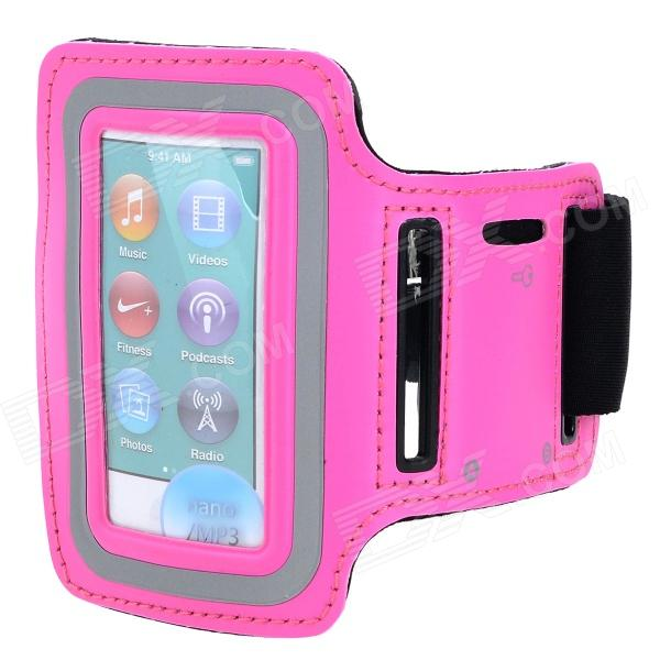 Sports Gym Neoprene Armband Case for IPOD Nano 7 - Deep Pink + Black
