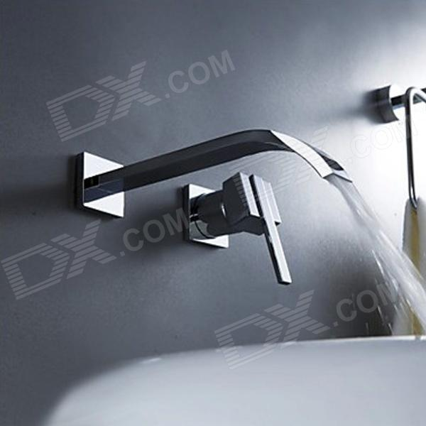 YDL F 0514 Contemporary Brass Waterfall Wall Mount Bathroom Sink Faucet    Silver