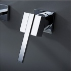 YDL-F-0514 Contemporary Brass Waterfall Wall Mount Bathroom Sink Faucet - Silver