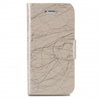 Stylish Line Pattern Flip-open PU Leather Case w/ Auto Sleep + Holder + Card Slot for Iphone 5 / 5s