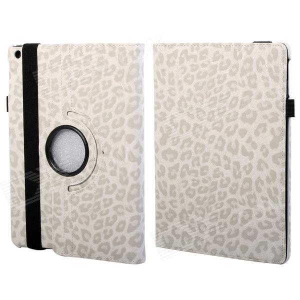 360 Degree Rotation Leopard Pattern Protective PU Leather + PC Case Cover Stand for Ipad AIR - White protective 360 degree rotation holder pu leather case for samsung p6800 p6810 pink