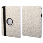 360 Degree Rotation Leopard Pattern Protective PU Leather + PC Case Cover Stand for Ipad AIR - White