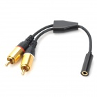 FP FP098 1-to-2 3.5mm Female to RCA Male 2-CH Adapting Cable - Black (19cm)