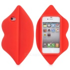 3D Sexy Lips Style Silicone Back Case for Iphone 4 / 4S - Red