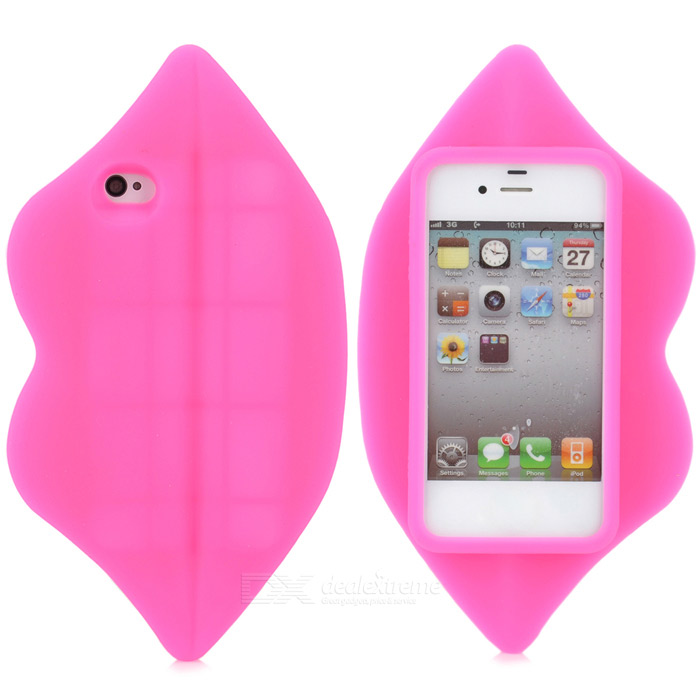 3D Sexy Lip Style Silicone Back Case for Iphone 4 / 4S - Deep Pink sexy lip style zinc alloy button sticker for iphone 4s pink
