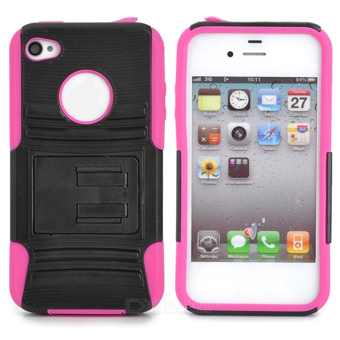 Protective Silicone PC Back Case for Iphone 4 / 4S - Black + Deep Pink cool skull head style protective soft silicone back case for iphone 4 4s pink