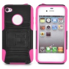 Protective Silicone PC Back Case for Iphone 4 / 4S - Black + Deep Pink