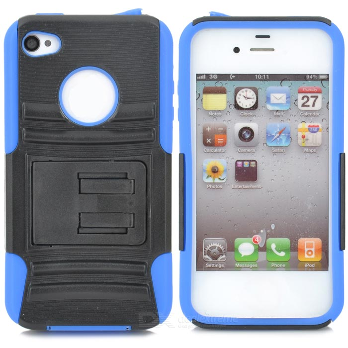 Protective PC Silicone Back Case w/ Stand for Iphone 4 / 4S - Black + Blue smkj protective plastic silicone back case w stand for iphone 6 4 7 black
