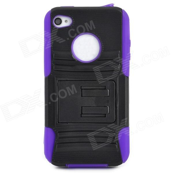 Protective PC Silicone Back Case for Iphone 4 / 4S - Black + Slate Blue