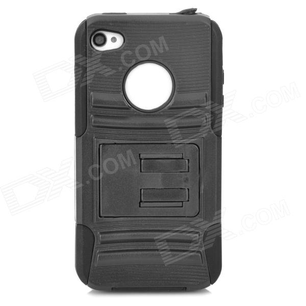 купить Protective PC Silicone Back Case for Iphone 4 / 4S - Black недорого