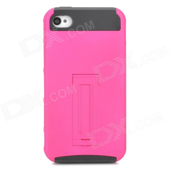 Protective PC TPU Back Case w/ Stand for Iphone 4 / 4S - Deep Pink + Black stylish bubble pattern protective silicone abs back case front frame case for iphone 4 4s