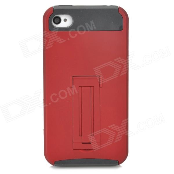 Protective PC TPU Back Case w/ Stand for Iphone 4 / 4S - Red + Black protective pc tpu back case for iphone 5 w anti dust cover lavender purple