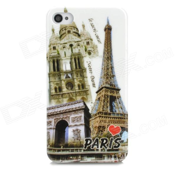Retro Paris View Patterned Plastic Back Case for Iphone 4 / 4s - Brass + Multicolored stylish 3d variable man pattern protective abs pc back case for iphone 4 4s multicolored