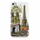 Retro Paris View Patterned Plastic Back Case for Iphone 4 / 4s - Brass + Multicolored