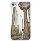 Protective Clock Street Pattern Back Case for Iphone 4 / 4S - White + Multicolored