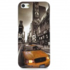 Protective Car Street View Pattern PC Back Case for Iphone 5 / 5s - Golden + Grey