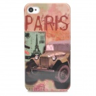 Off-road Vehicle Pattern Plastic Back Case for iPhone 4 / 4S - Black + Pink + Multicolored