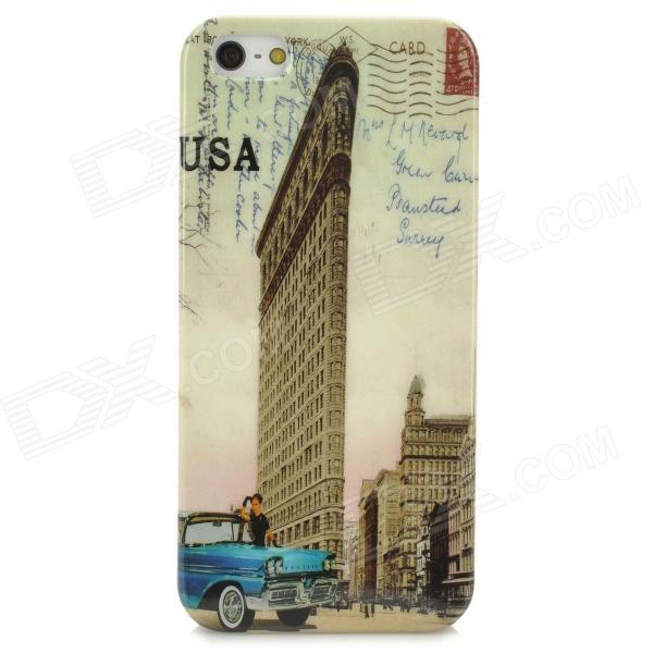 Retro Patterned Protective Plastic Back Case for Iphone 5 / 5s - Blue + Brass retro jeans style protective plastic back case for iphone 5 blue