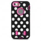 Protective Polka Dots Pattern PC Silicone Back Case for Iphone 5 / 5s - Black + Deep Pink
