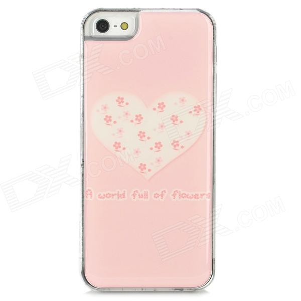 Protective Heart Pattern Epoxy Dripping Plastic Back Case for Iphone 5 / 5s - Pink + White cartoon pattern matte protective abs back case for iphone 4 4s deep pink