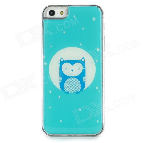 Protective Owl Pattern Epoxy Dripping Plastic Back Case for Iphone 5 / 5s - Light Blue + White cute sheep animal cartoon women winter home slippers for indoor bedroom house warm cotton shoes adult plush flats christmas gift