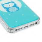 Protective Owl Pattern Epoxy Dripping Plastic Back Case for Iphone 5 / 5s - Light Blue + White