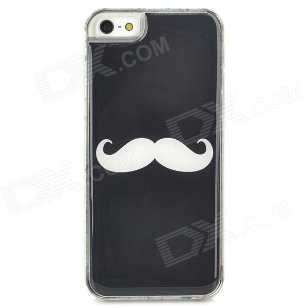 Protective Mustach Pattern Epoxy Dripping Plastic Back Case for Iphone 5 / 5s - Black + White mirror surface rhonestone protective plastic case for iphone 5 5s