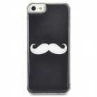 Protective Mustach Pattern Epoxy Dripping Plastic Back Case for Iphone 5 / 5s - Black + White