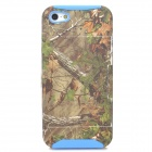 Stylish Twig Patterned 2-in-1 PC + Silicone Back Case w/ Holder / Card Slot for Iphone 5 / 5s - Blue