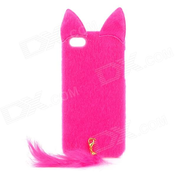 Cute Fox Style Silicone + Plush Back Case for Iphone 5 / 5 s - Deep Pink cute marshmallow style silicone back case for iphone 5 5s yellow white
