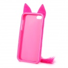 Cute Fox Style Silicone + Plush Back Case for Iphone 5 / 5 s - Deep Pink