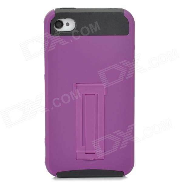 Protective PC TPU Back Case w/ Stand for Iphone 4 / 4S - Purple + Black glossy tpu gel back protection case for iphone 7 plus light purple